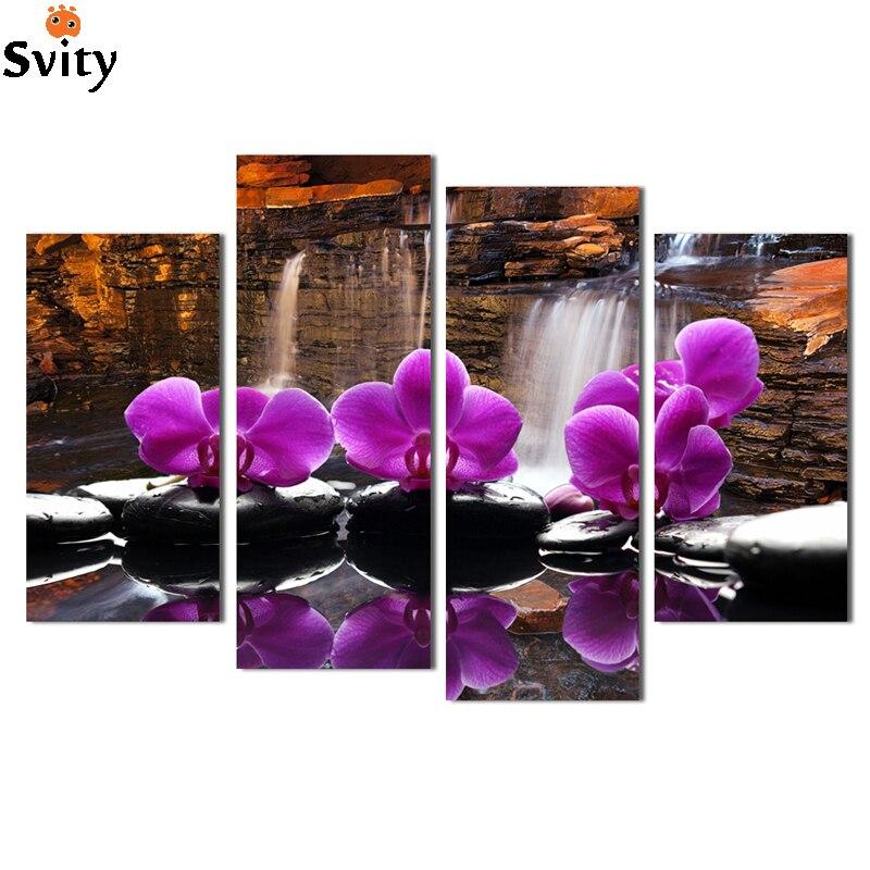 4 Pièces Fleurs D Orchidées Grande Toile Art Pas Cher Toile