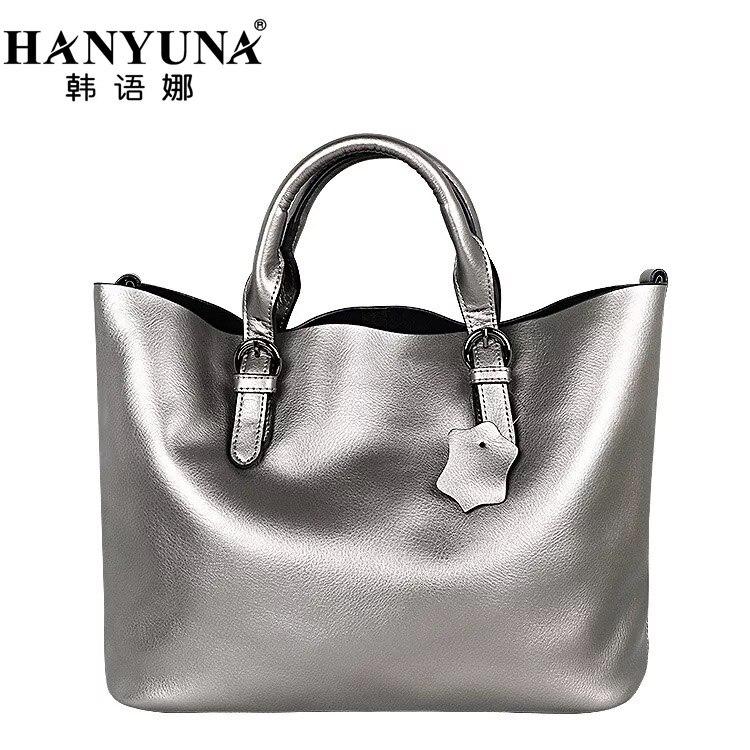 HANYUNA Female Luxury 100 Genuine font b Leather b font Big Capacity Bag Women Cow font