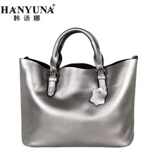 HANYUNA Female Luxury 100% Genuine Leather Big Capacity Bag Women Cow Leather Totes Ladies Totes Handbags and Crossbody Bag