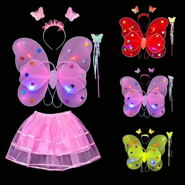 Child Double Layer Twinkling Luminous Butterfly Wing Dancing Birthday Holiday Carnival Cosplay Banquet Stage Show Performance