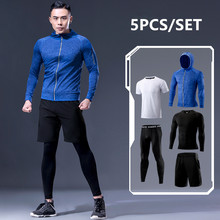 New Arrival Sports Suit Men's Running Sets Jogging Basketball Underwear Sportswear Gym Tights Running Tracksuit Training Clothes(China)