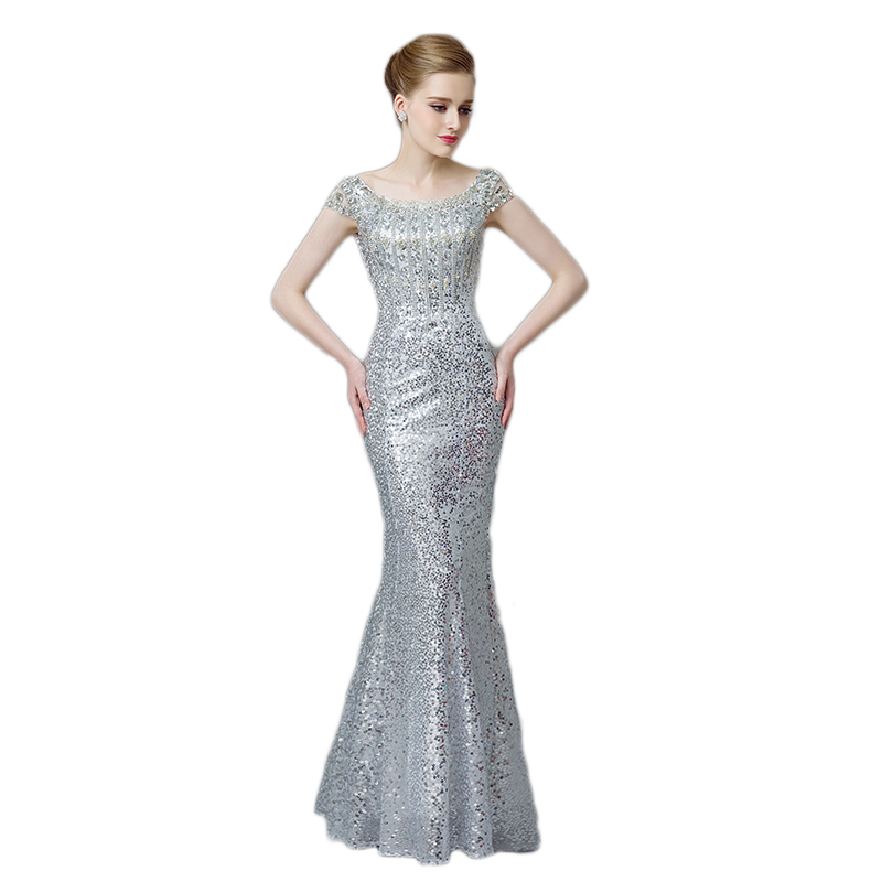 Elegant Mermaid Sequined Evening Dresses 2016 Silver Prom Gowns ...