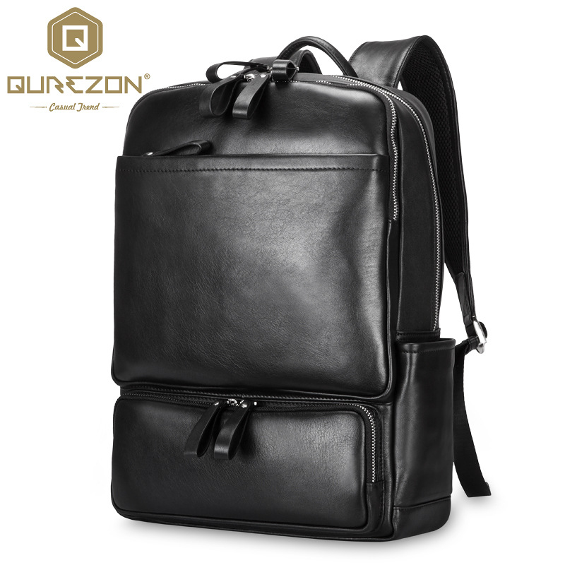 QUREZON Famous Brand Genuine Leather Men Backpack Bags Large Men Travel Bag Luxury Designer Leather School Bag Laptop Backpack vieline genuine leather women backpack famous brand lady leather backpack leather school bag free shipping