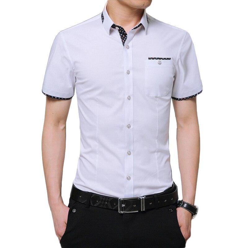 945a7384a42bf Artı Boyutu 5XL 2018 Yaz Marka Gömlek Erkek Gömlek Kollu Sosyal Gömlek Turn-aşağı  Yaka Sahte Cep Tasarım Gömlek ithal Giyim