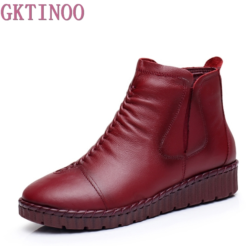 Fashion Winter Shoe Boots Genuine Leather Ankle Shoes Vintage Casual Shoes Brand Design Retro Handmade Women