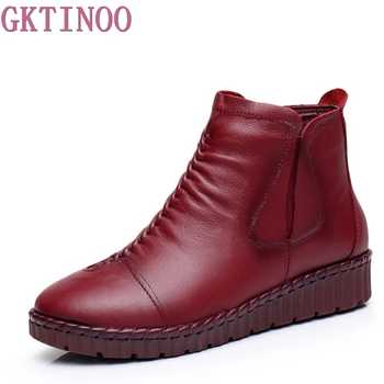 GKTINOO Fashion Winter Shoe Boots Genuine Leather Ankle Shoes Vintage Casual Shoes Brand Design Retro Handmade Women Boots Lady - DISCOUNT ITEM  50% OFF All Category