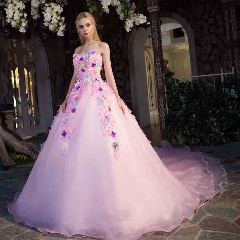 cv tube top flower design long train wedding dress puff ball gown pink color custom made