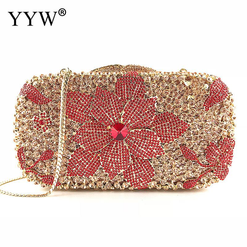 Bridal Metal Clutch Floral Bag Women Crystal Gold Evening Bag Wedding Party Handbags Purse Lady Diamond Rhinestone Clutches women bridal evening clutch bag wedding bridal clutches bag handmade small women bag party evening bags purse pink gold red lady