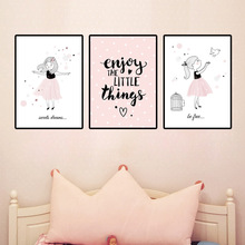 70*100cm New Baby Nursery Wall Art Canvas Painting Pink Cartoon Girl Poster Print Nordic Kids Decoration Picture Bedroom Decor