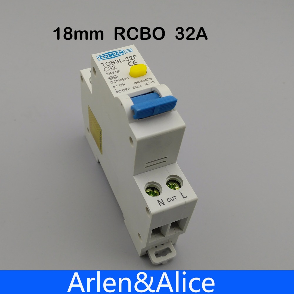 18MM RCBO 32A 1P+N 6KA Residual current differential automatic Circuit breaker with over current and Leakage protection 18mm rcbo 32a 1p n residual current circuit breaker with over current and leakage protection 30ma