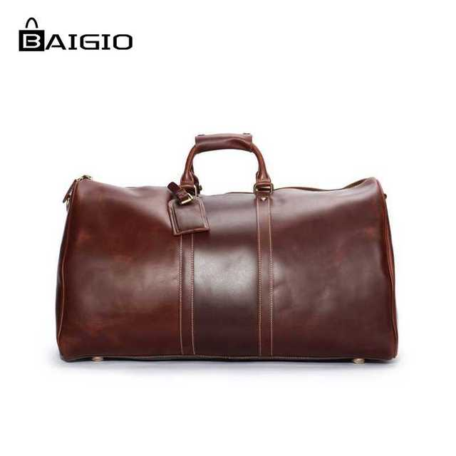 fda3024a7 Baigio Leather Men Bags Vintage Brown Leather Designer Travel Hand Luggage  Overnight Duffle Tote Shoulder Bags Travel Bags