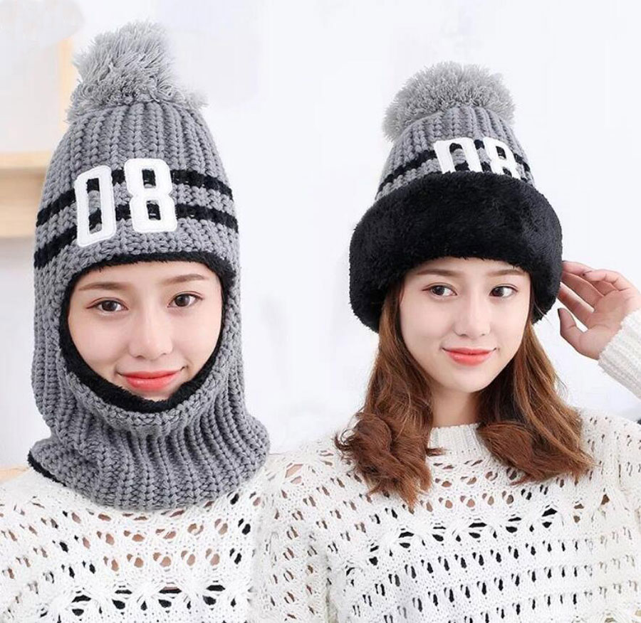 Pom Pom Beanie Winter Hats For Women Knitted Hooded Scarves Neck Warmers Ladies Number Design Cap And Scarf Woman Accessories
