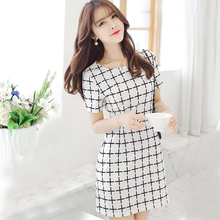 plus measurement XXL ladies's informal plaid chiffon seashore costume Hot Sale 2017 summer season feminino ruffles social gathering elegant mini clothes vestidos