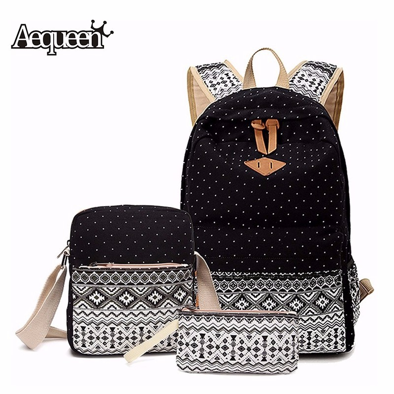 AEQUEEN Women Canvas Printing Backpack Cute School Bag For Teenage Girls 3 Pcs Set Mochila Laptop Backpack 2018 Pen Pencil Case 3 pcs set fashion canvas printing backpack women school bags for teenage girls cute book bag travel satchel rucksack