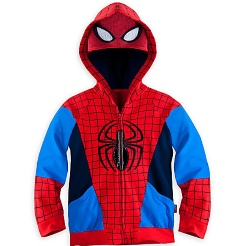 Retail 2015 Children Boys Outerwear Clothing Coats Spiderman Jacket Boy Hoodies Spider-man Coat Baby Kids Sweatshirts Fashion