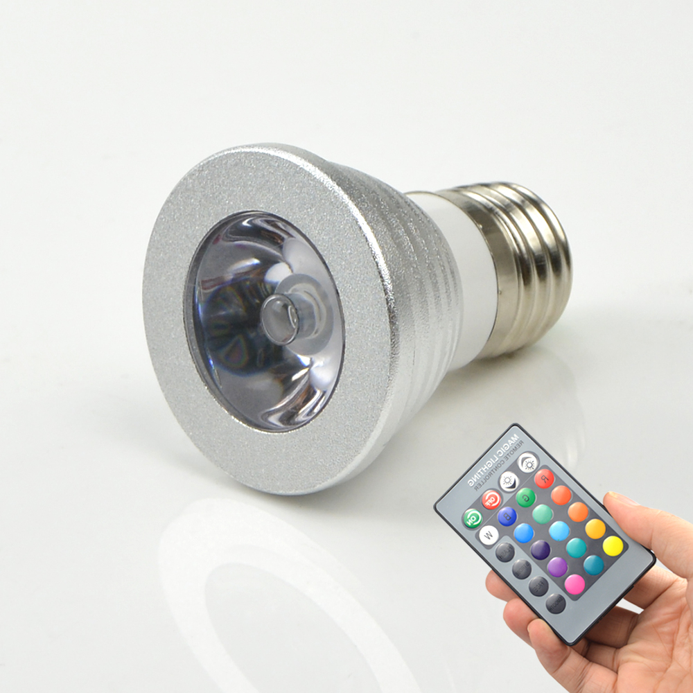 Mini e27 rgb led lamp 3w 110v 220v led spotlight bulb remote control 16 color change lampada Mini bulbs