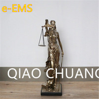 European Style Mythological Figures Lady Justice Imitation Cuprum Resin Sculpture Craftwork Home Furnishing Articles G1550