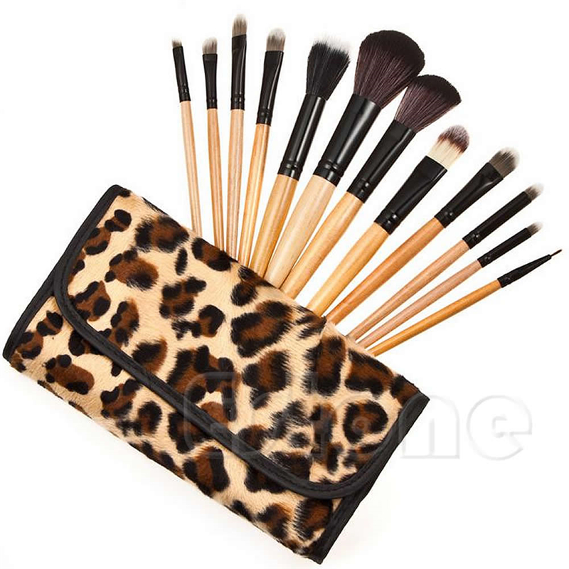12 Pcs/set Professional Makeup Brush Set Foundation  Cosmetic Brushes Make Up Tool Kit  With Leopard Bag 2017 cosmetic pink makeup brush professional makeup kit brush set foundation brush power puff sponge makeup brushes set tool