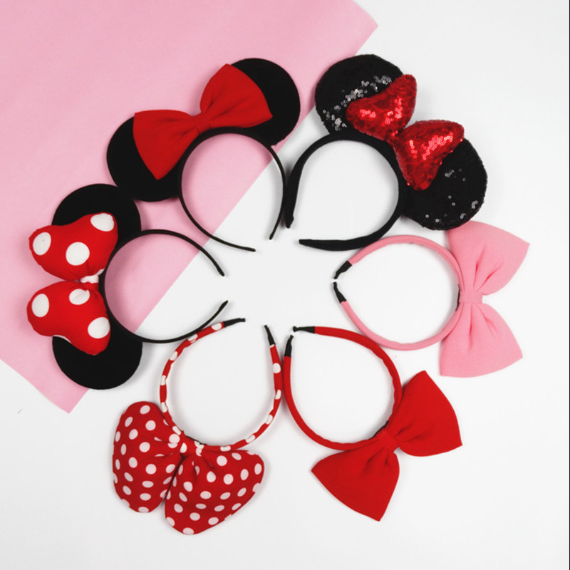 Girls Minnie ear tiara Princess Head Hoop Mickey ear lady headband children's   headwear   birthday party play accessories