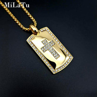 MiLaTu Iced Out Bling Rhinestone Cross Pendant Necklace Stainless Steel Prayer Necklace Men Religious Jewelry Gift