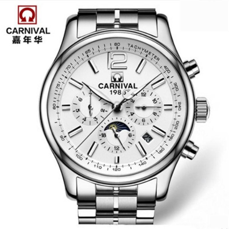 2016New moon phase automatic mechanical military men watch full steel luxury brand waterproof sapphire watches luxe