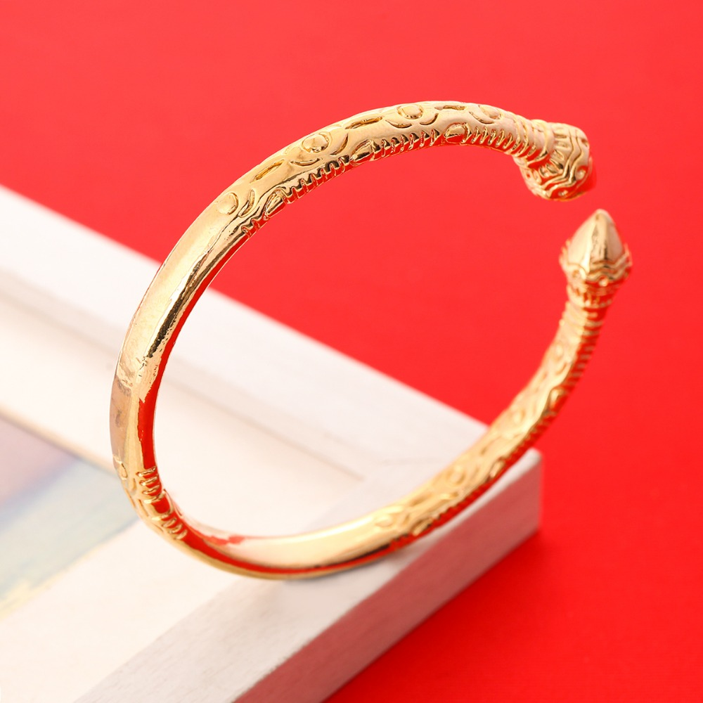 Dubai Ethiopian African Men Jewelry Bangle Gold Plated Opening Embossing Gold Bracelets Bangles bracelet