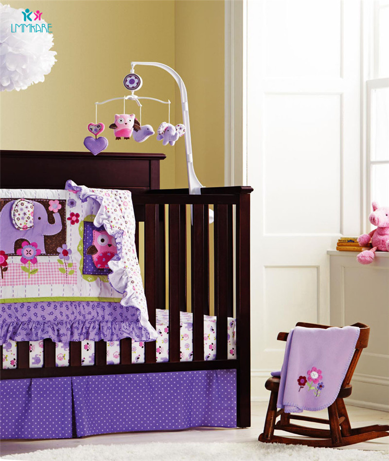Purple <font><b>Baby</b></font> Girls <font><b>Bedding</b></font> <font><b>Sets</b></font> Sweet Lovely Cartoon Printing Embroidery <font><b>Baby</b></font> Bed Bumpers Breathable <font><b>Baby</b></font> Blanket Bed Sheet Quilt image