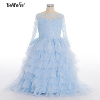 New Summer Girls dress 2016 See through Half Sleeve Ruffles Multi-Layers 2018 flowers girls dress for wedding and party