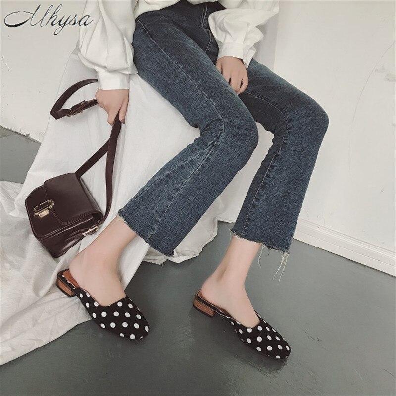 100% Wahr Mhysa 2019 Sommer Neue Mode Karree Niedrigen Ferse Der Einzelnen Schuhe Polka Dot Baotou Wilden Atmungsaktive Frauen Flache Hausschuhe T145