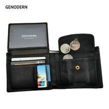 Genodern 牛革紳士ヴィンテージ男性財布機能ブラウン本革メンズ財布カードホルダー
