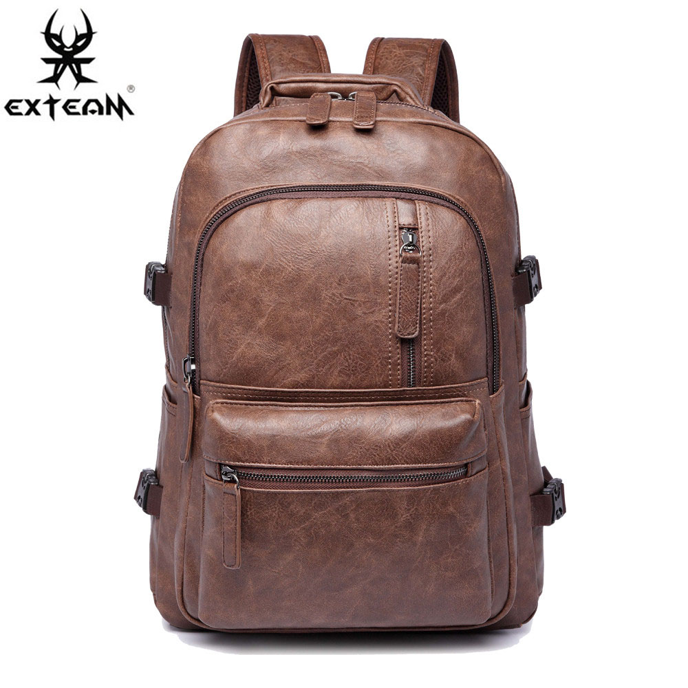 Men PU Leather Laptop Backpack for Lenovo ASUS HP Outdoor Casual Travel Rucksack Korean Style Women Multifunction School Bag