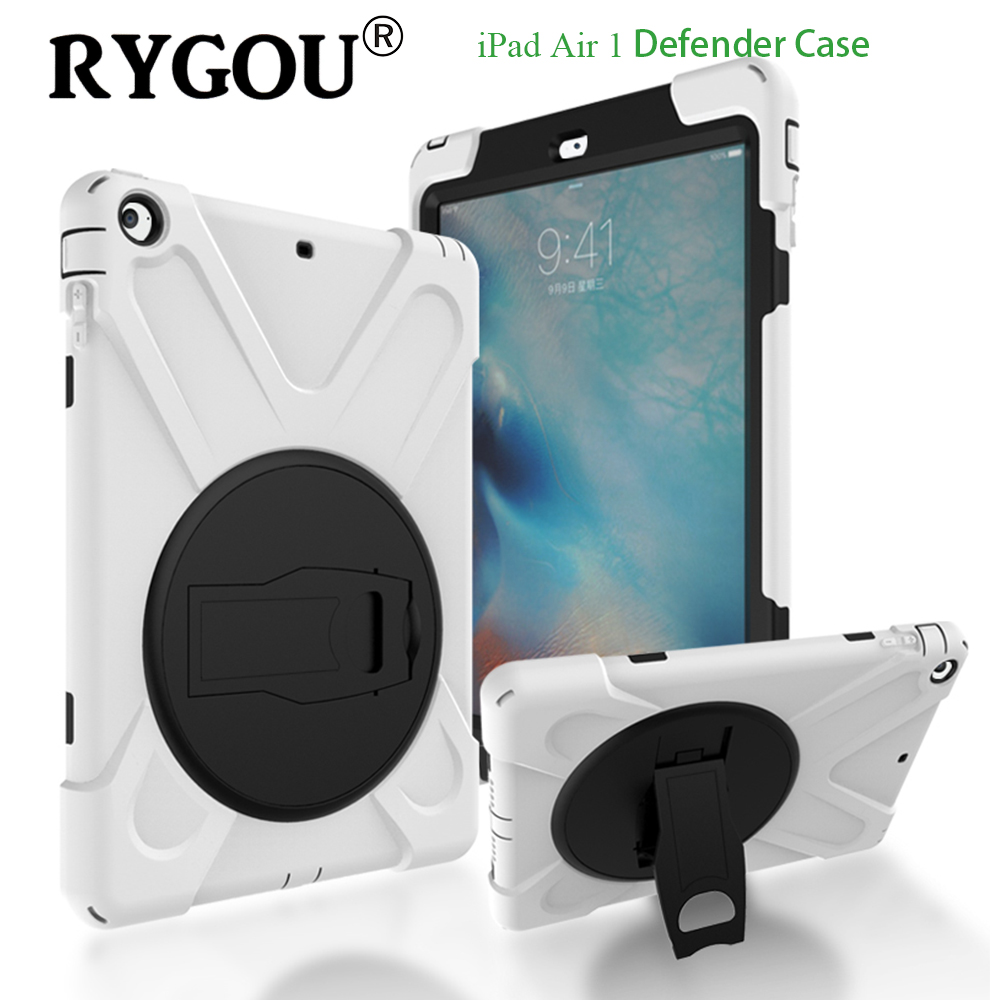 RYGOU For iPad Air 1 Case Kids Safe Hybrid Armor Shockproof Heavy Duty Silicone Hard Cover for iPad Air Tablet Protective Case for ipad 2 ipad 3 ipad 4 case kids safe shockproof heavy duty rubber hybrid armor hard case cover stylus