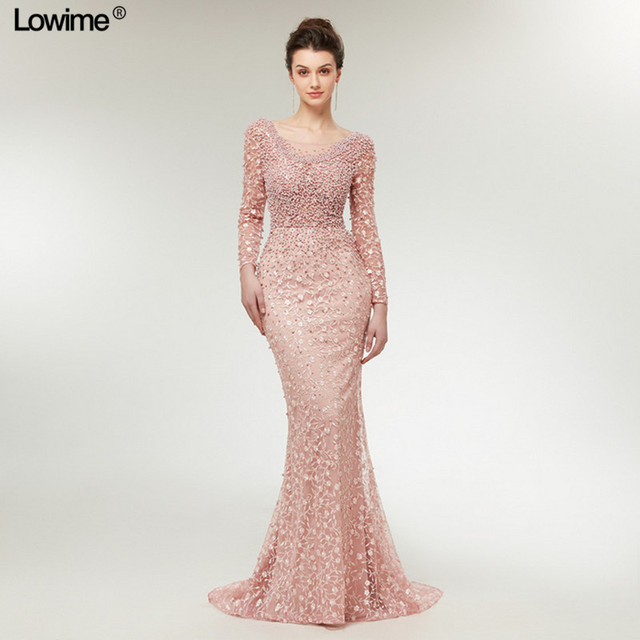 Muslim Women Evening Dresses 2018 Long Sleeves Evening Gowns Turkish Arabic Dubai  Prom Gowns Party Dress With Pearls Lace e659e6dda102