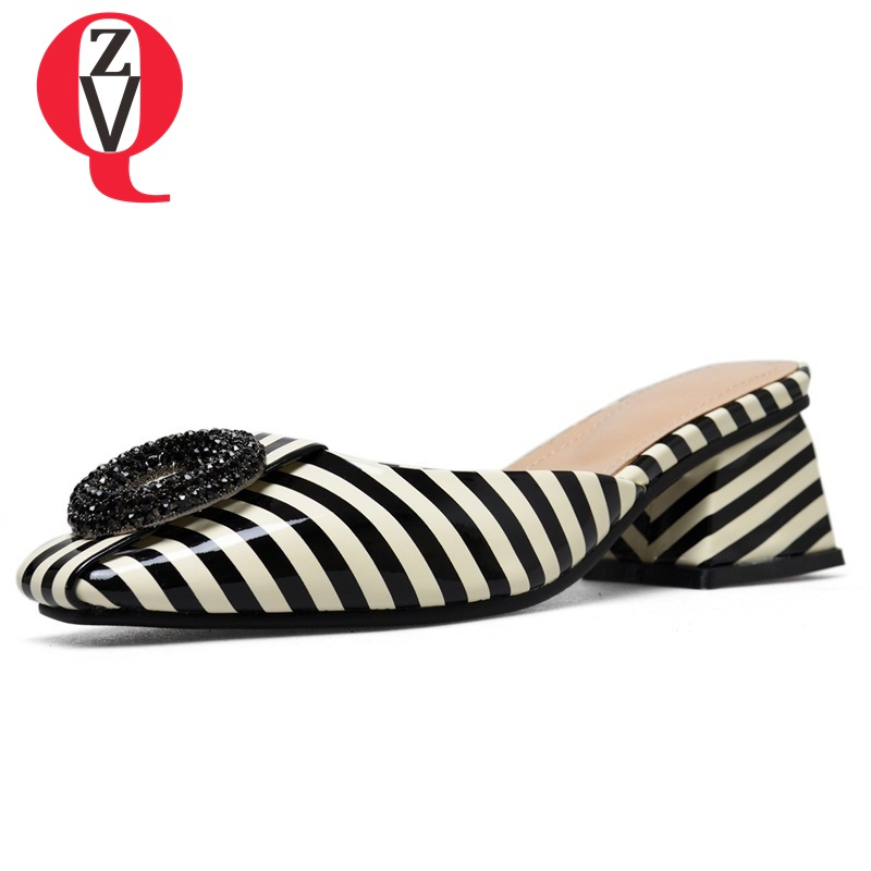 ZVQ women slippers new patent leather square toe med square heel summer black and white stripes lady mules new casual date shoes