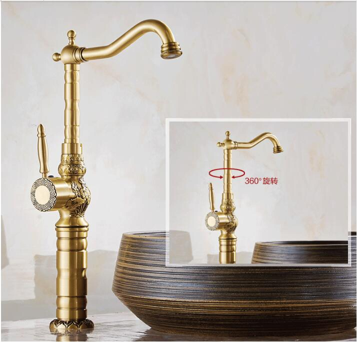 Basin Faucets Deck Mounted Single Handle Bathroom Basin Mixer Tap Antique Bronze Crane High Quality Hot & Cold Water free shipping basin crane bathroom led stream light water faucet deck mounted cold and hot water mixer handle water faucets