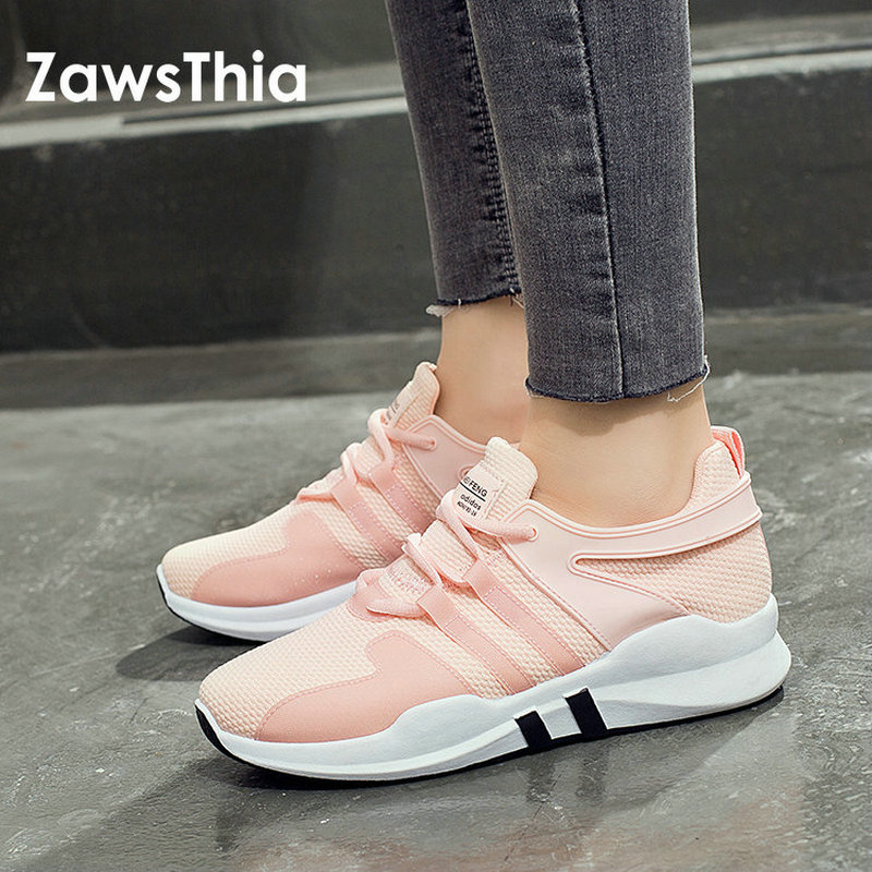 ZawsThia 2018 white pink air mesh student breathable lace ups