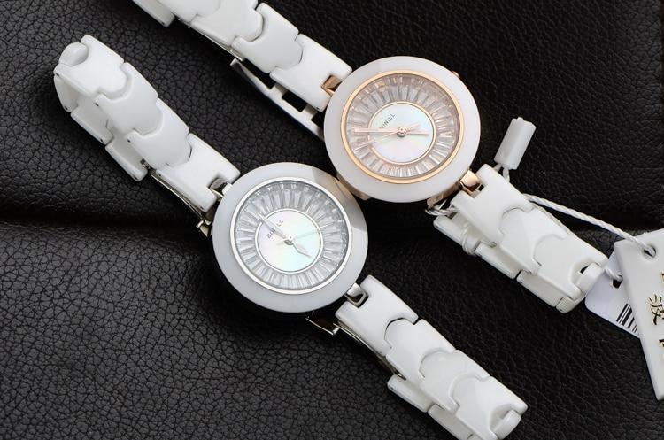 New Brand BONILL Korean Designer Women Thin Ceramic Bracelet Watch Elegant Lady Crystals Dress Clock Quartz Relojes 3ATM NW2432 beautiful macaron color women dress watches quartz elegant lady ceramic bracelet clock simple fashion analog relojes 3atm nw2777