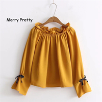 MERRY PRETTY 2018 Spring Women Slash Neck Ruffles Blouse Shirts Sweet Female Long Sleeve Solid Color