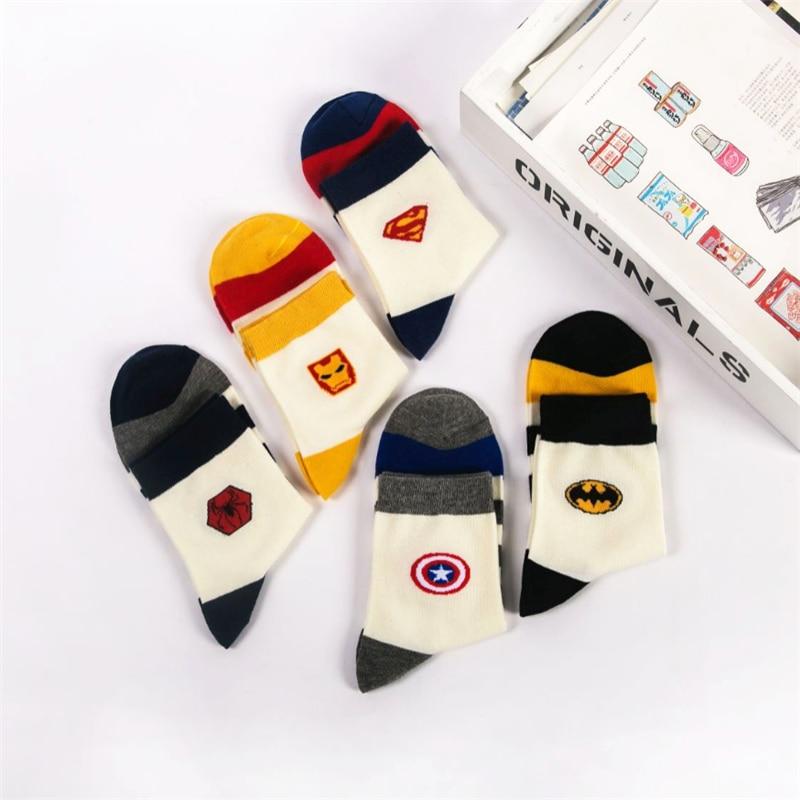 Avengers Marvel cartoon   socks   Batman Superman wild cosplay fashion   socks   novelty funny casual men's   socks   spring summer   socks