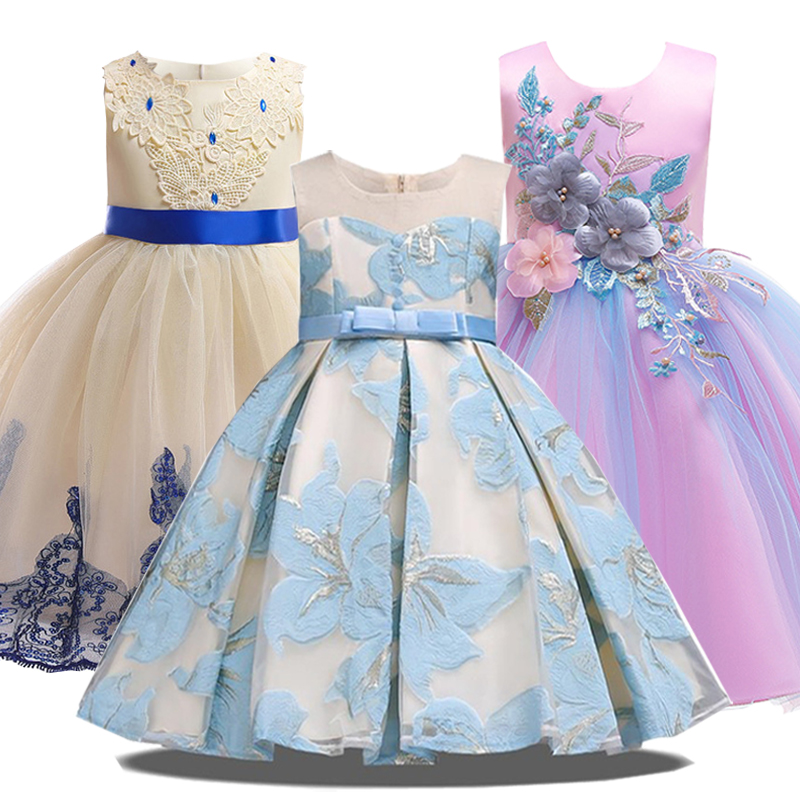 2019 Summer Party Princess Dress Girl Clothes Wedding Costume Kids Dresses For Girls Bridesmaid Tutu Dress Elegant 10 12 Years(China)