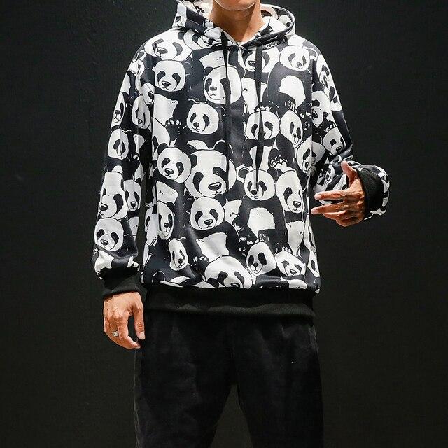 Panda impression pull homme Animal impression sweat à capuche pour homme 2019 automne Hip Hop Pullover décontracté sweats à capuche haut