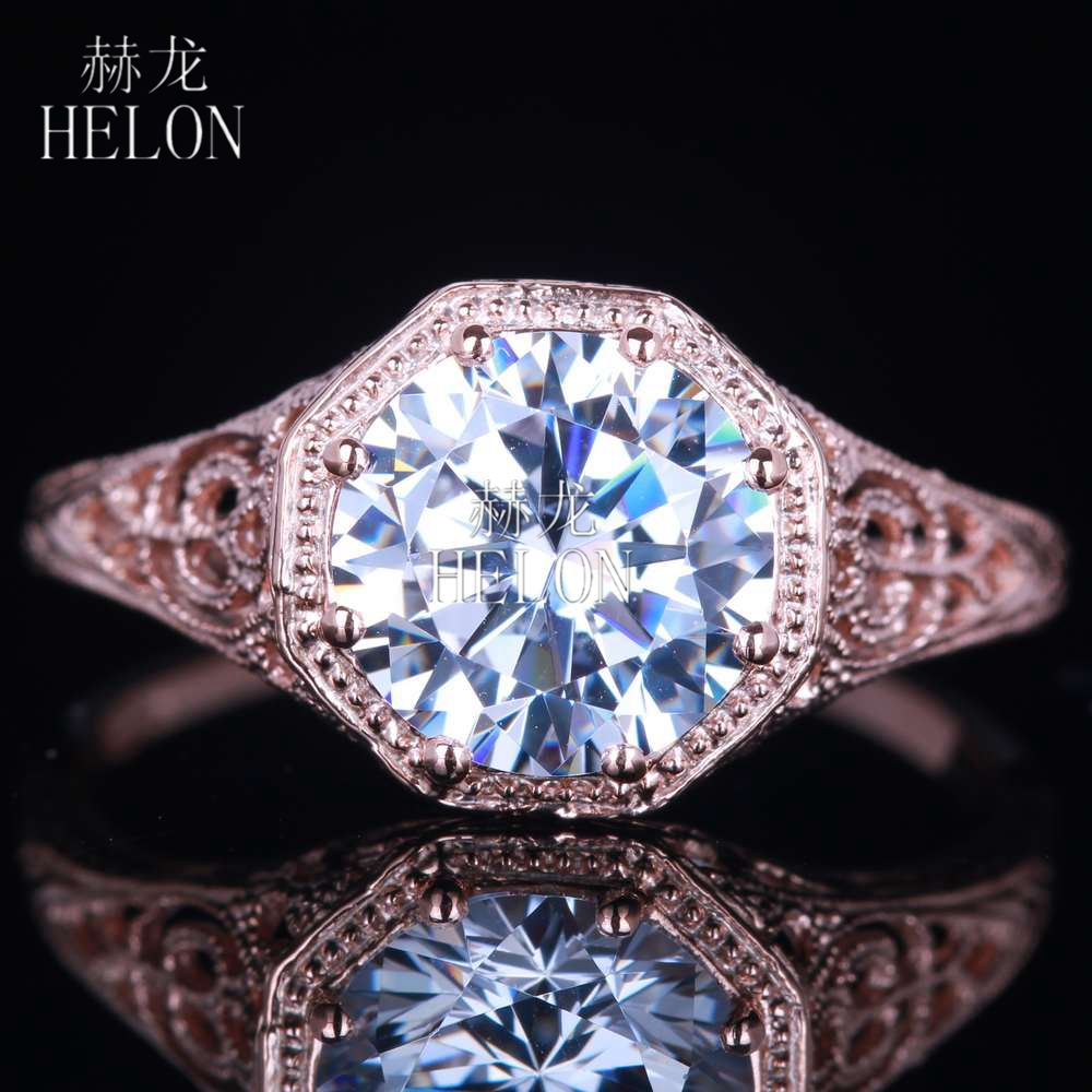 HELON Sterling Silver 925 Round Cut 7mm Cubic Zirconia Solitaire Wedding Engagement Filigree Antique Fine Jewelry Ring wholesale
