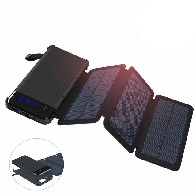 wholesale dealer a1e13 fa5ab Waterproof Solar Power Bank 10000 mah Foldable Phone Charger Double USB  Solar Panel External Battery Universal Phone Powerbank
