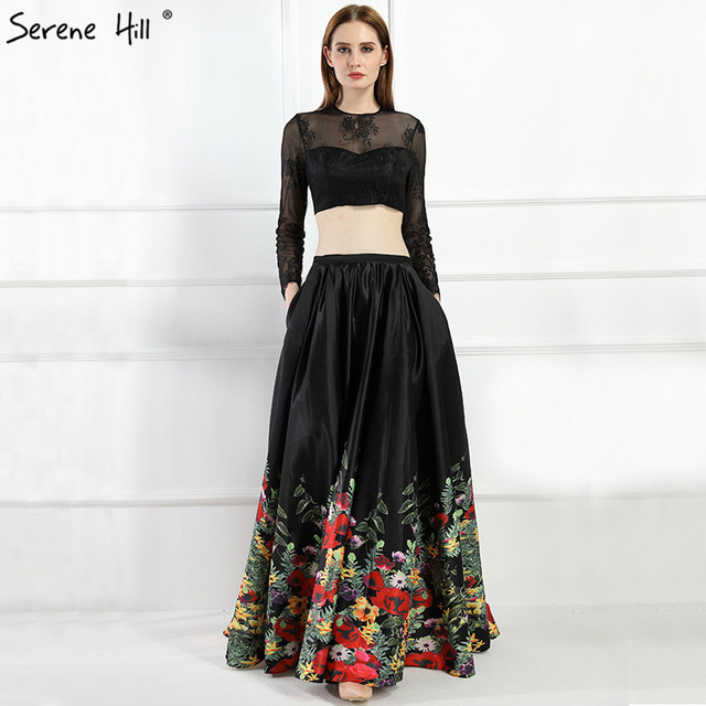 bc34cd21eb 2019 Black Two Pieces Satin Prom Dresses Long Sleeves Pattern Flowers Sexy  A-Line Evening Gowns Real Photo LA6184