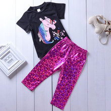 Baby Kids Girls Clothes Sets Black Colorful Horse Tops Tee Deep Purple Scale Pants Vogue Bebe Cute Toddler Clothing Suits