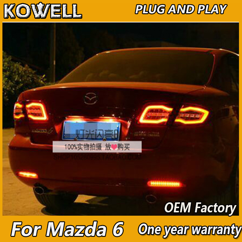 KOWELL Car Styling for Mazda 6 Taillights 2004 2013 Mazda6 Classic LED Tail Lamp Rear Lamp DRL+Brake+Park+Signal led light