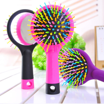 by DHL or EMS 50pcs Rainbow Comb Volume Brush Magic Hairbrush for Hair Tangle Hair Brush Women Comb Candy With Mirror