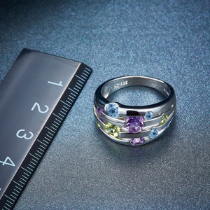 Image 4 - Natural Gemstone Silver Rings 925 Solid Silver Wedding Rings Colorful Crystal Rings Original Design Exquisite Engagement Rings