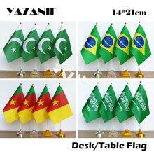 YAZANIE, 14*21 см, 4 шт., Пакистан, Бразилия, Камерун, Саудовская Аравия, настольный флаг с пластиковой основой, полиэстер, Национальный Ручной Настольный флаг