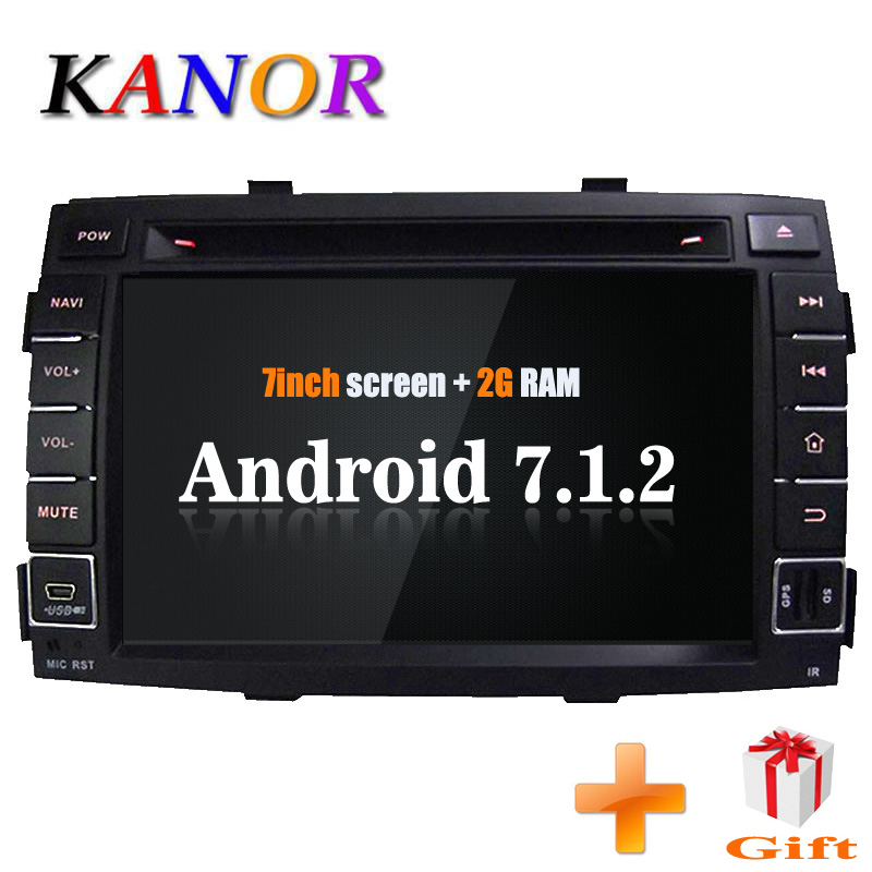 KANOR Android 7.1 Quad core 2+16g 2din Car Radio IPS For KIA Sorento 2009 2010 2011 2012 Car Video Player Multimedia System цена